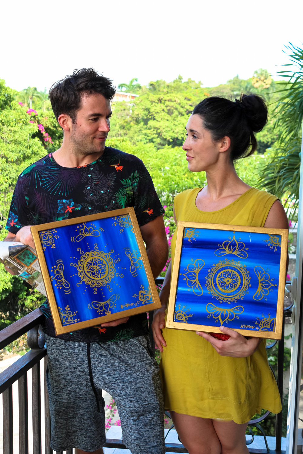 From Haiti to    the UK - During a family visit to Port-au-Prince, Max and Becky were captivated by this resin mixed media duo from my Golden Dreams Series (2017). I was thrilled by their choice, and I can't wait to see how the art is styled in their Manchester home.           xx Amanacer