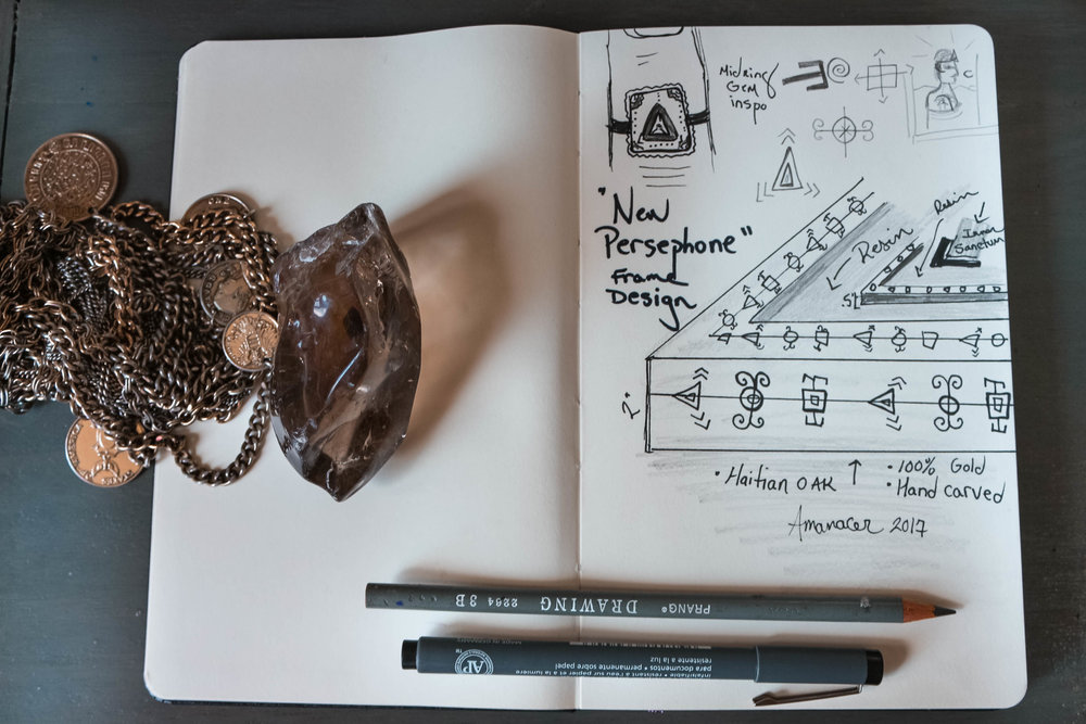 Nothing beats a classic Moleskin notebook for sketches. I also created a cardboard model of the three tiered frame. Given the unorthodox request, I needed backup to communicate with the crafstmen.