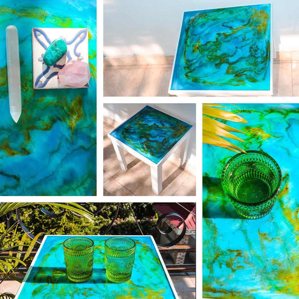 Mermaid Lagoon Resin Art Table and Tray