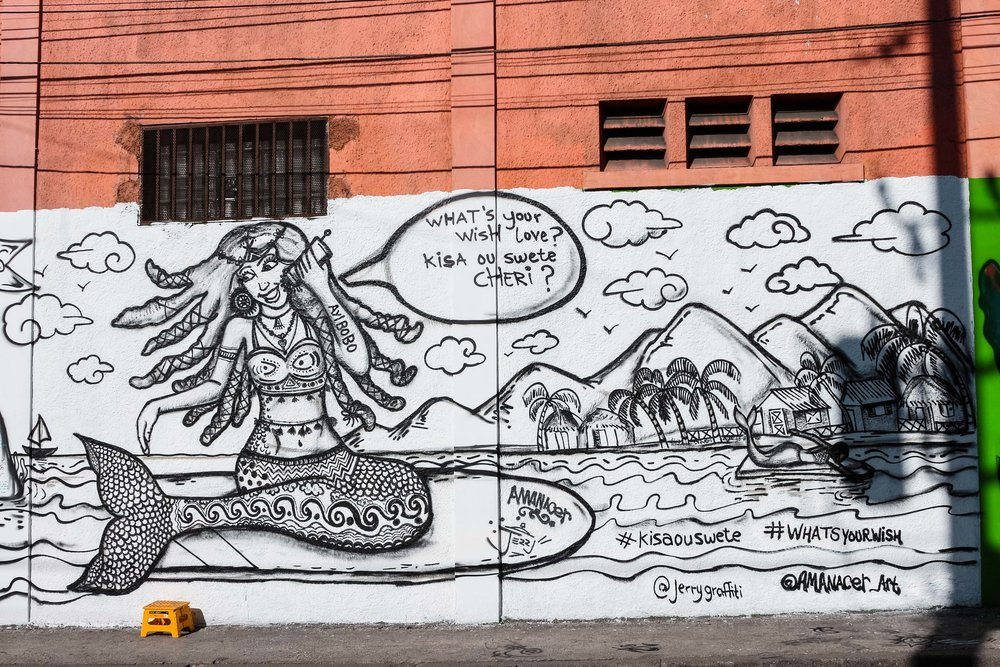 Urban Mermaid and Wishing Wall Mural by Amanacer and Jerry in Haiti
