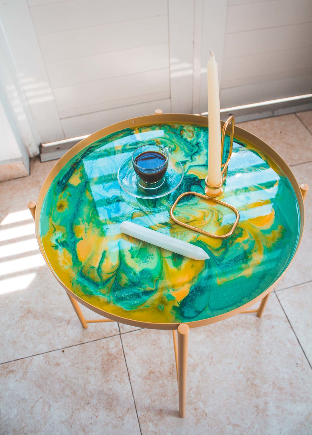 Upgrade your morning routine with this one of a kind resin art table.