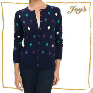 Foxcroft | 171217 | $89 Diamond Dot Cardigan | $89 This dot print adds a touch to color to a simple outfit.