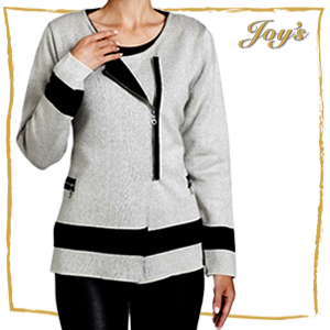 Angel | AC-6341 | $215 Contrast Off-Ctr Zip Cardigan with moto-style details on a soft, unstructured silhouette, ANGEL gives your favorite cardigan a more cutting-edge design. An off-center front zipper and color blocked details rev it up in all the right ways.