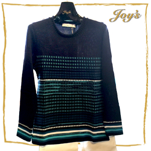 Skovhuus | Dark Blue Striped Sweater | $130 Elegant knitwear for trendy, quality-conscious women - a pullover sweater with exquisite striping detail will not only keep you warm and cozy - but turn some head.