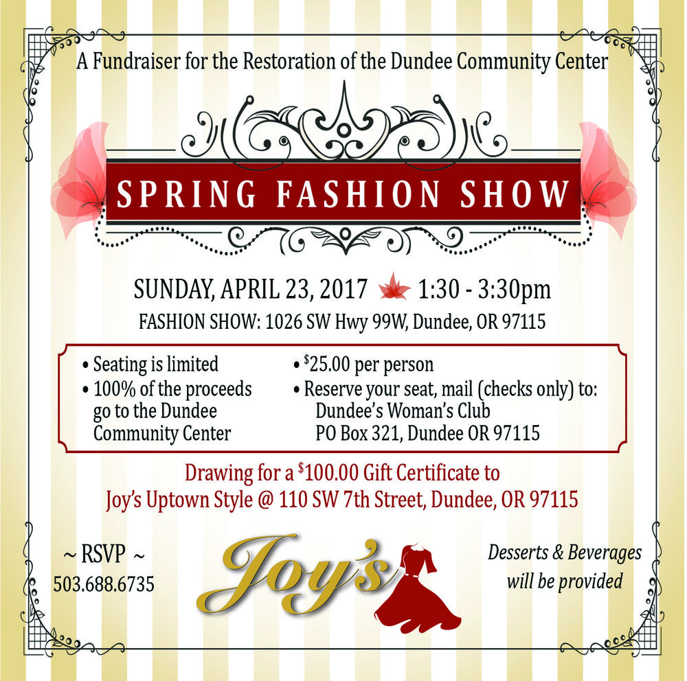 Isn't it time to get together and see what the latest fashion is for Spring 2017? Joy's Uptown Style offers impeccable quality in unique styles that always make you feel fabulous. Please come join us for our Spring Fashion Show while supporting the restoration of Dundee Community Center! It's guaranteed to be a Fun, Feel-Good, Fabulous time!