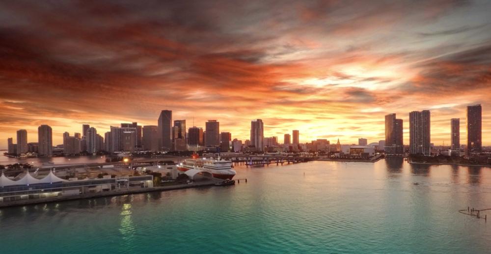 Miami Skyline Drone Sunset