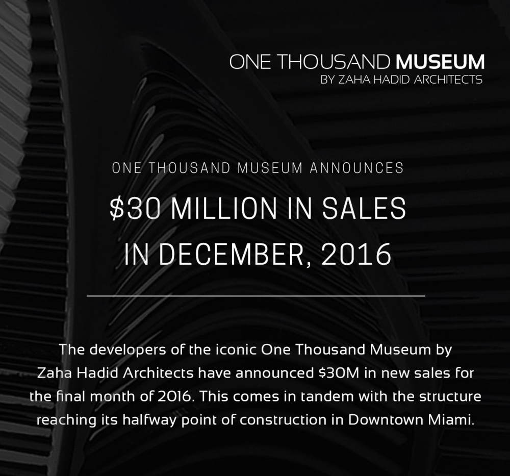 One Thousand Museum December $30 Million in Sales