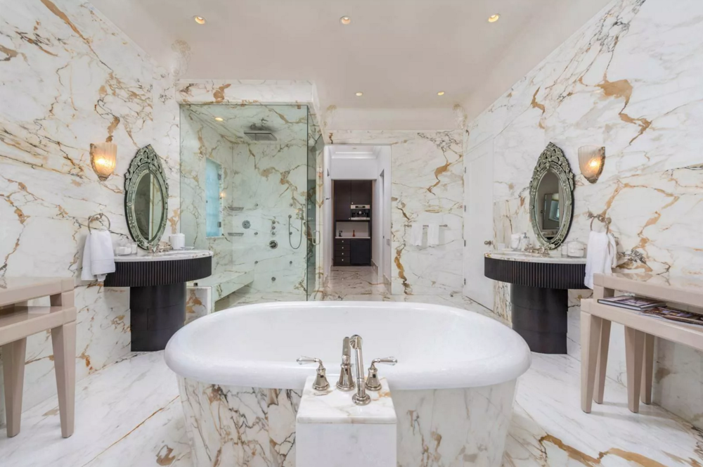 5310 North Bay Road Estate Lavish Luxury Marble Bathroom
