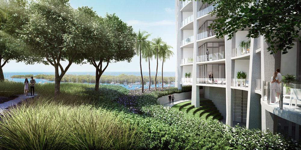 Park Grove Amenities Lush Gardens Landscaping Enzo Enea Coconut Grove Top-Off