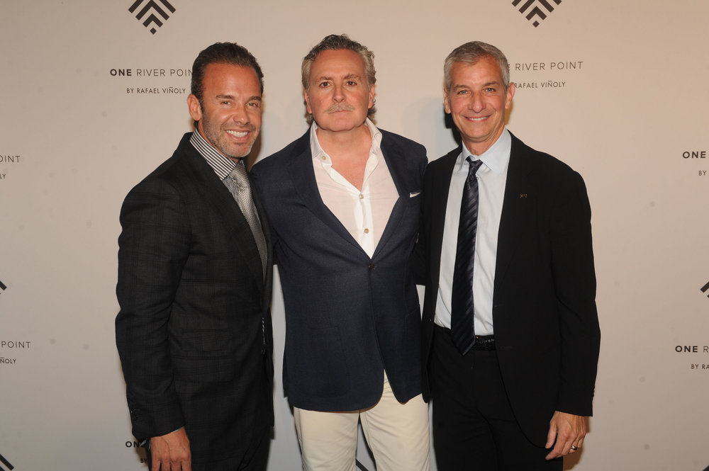 Shahab Karmely of Kar Properties (center) at the One River Point Sales Gallery Launch