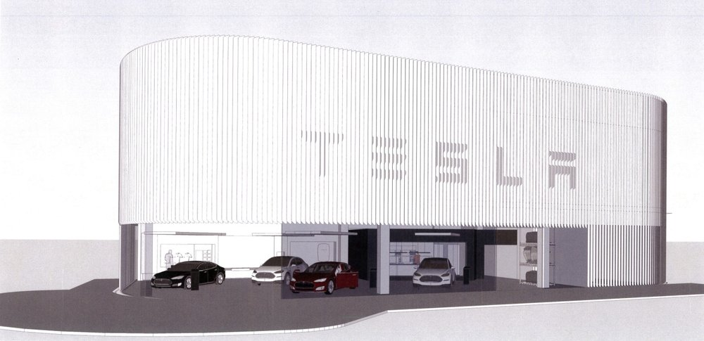 Tesla Building Miami Design District Showroom Location Stantec