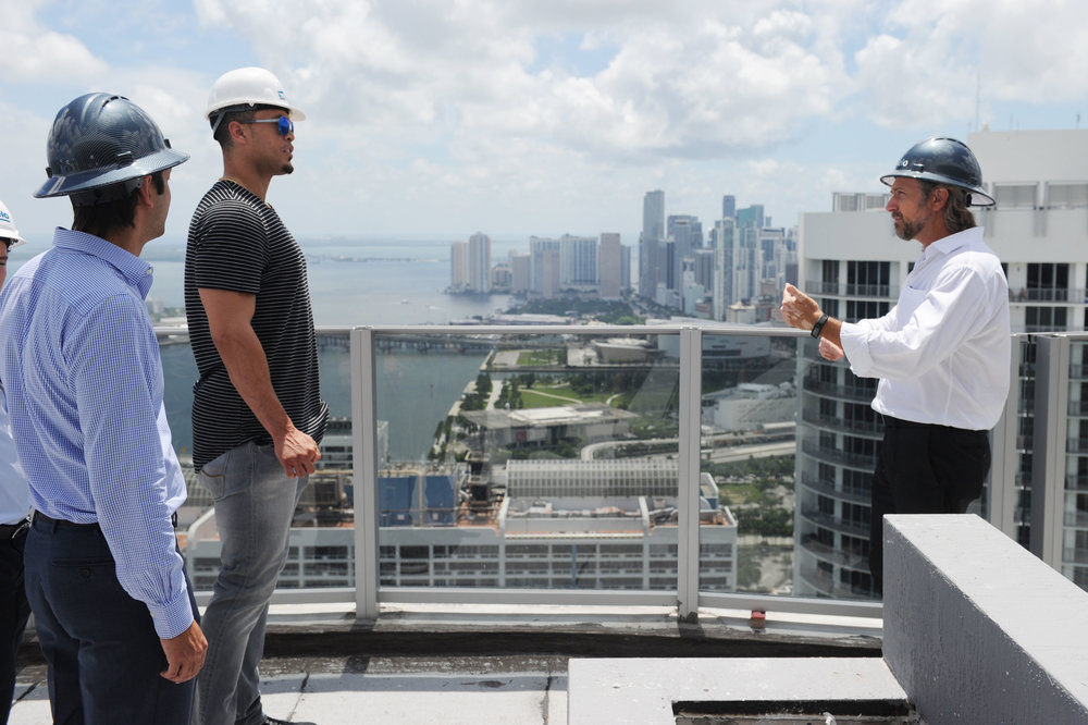Miami Marlins' Star Giancarlo Stanton Tours His Under-Construction Penthouse At Melo Group's Aria on the Bay