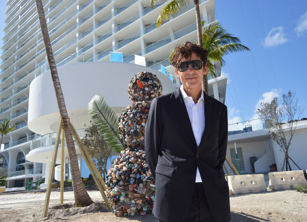 Artist Daniel Knorr in front of his Bonhomme Universe