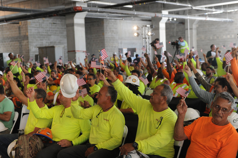 More than 550 construction workers involved in the project celebrate the topping off of the monumental tower PARAMOUNT Miami Worldcenter Tops Off In Downtown Miami With Over $400 Million In Sales