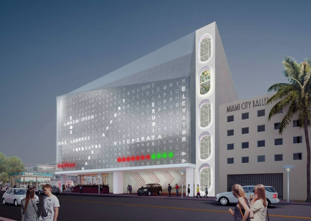 Words Selected To Fill In Crossword Puzzle Façade On Collins Park Garage