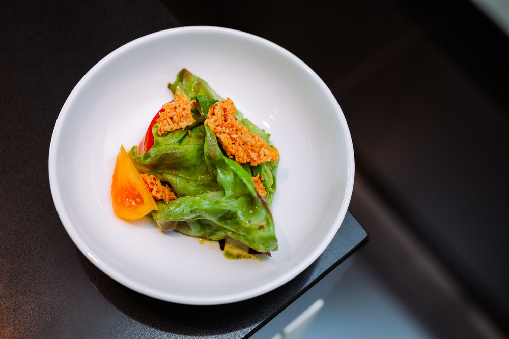 Bibb Lettuce Salad - Heirloom Tomatoes, Green Herb Dressing, Garlic Parmesan Croutons