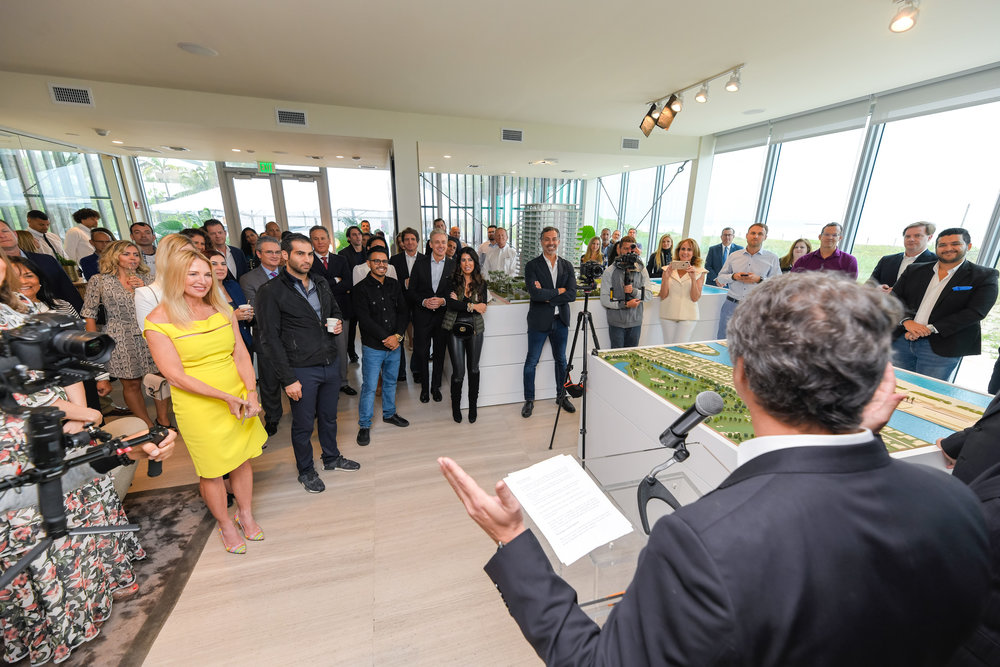 Guests gather for opening remarks of groundbreaking ceremony Multiplan Real Estate Asset Management Breaks Ground On 57 Ocean In Miami Beach Demetri Demascus PROFILEmiami