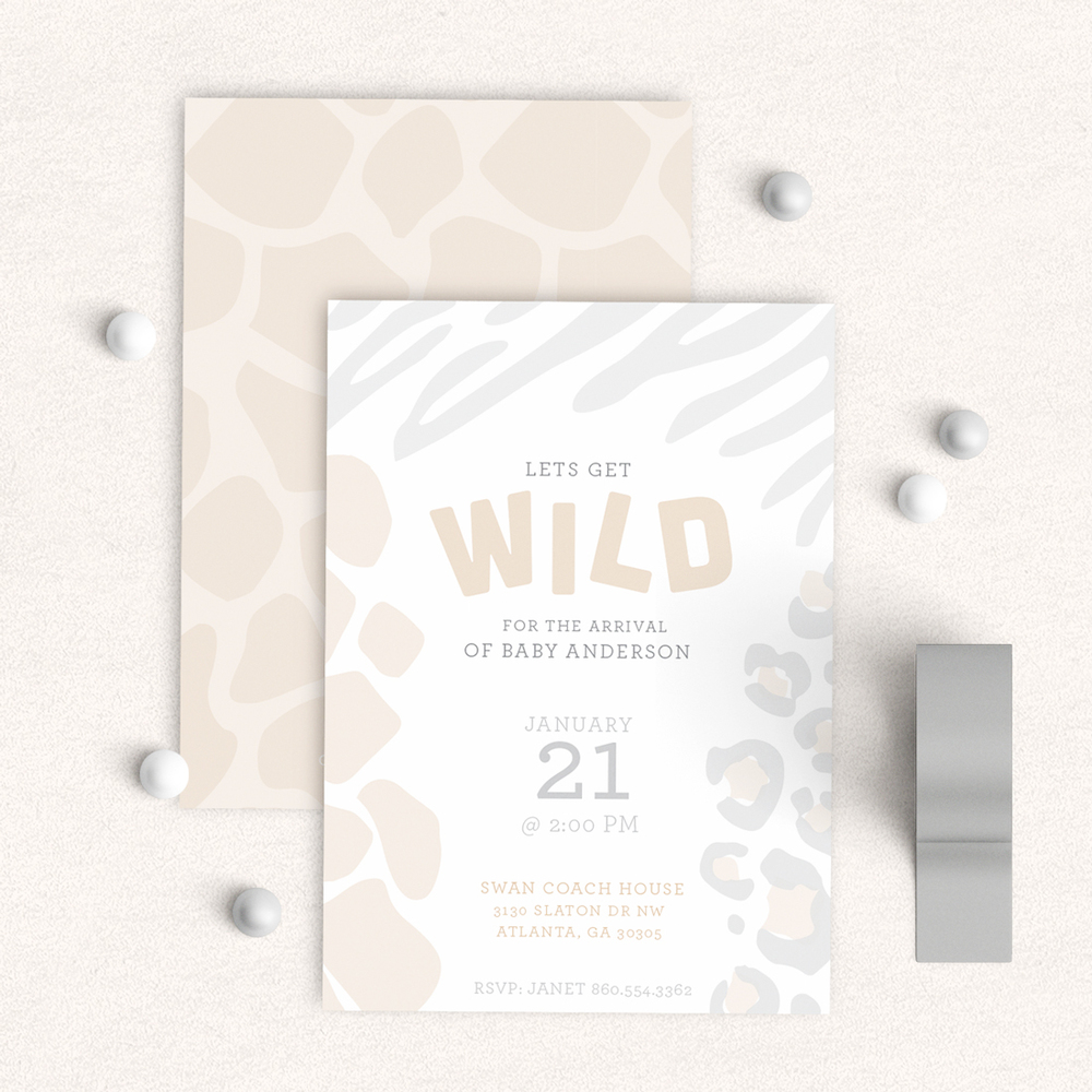 Wild  Safari Baby Shower Invitatiom