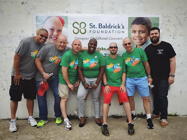 Our newest Master Barber, @joethegentleman, spent some time today buzzing heads for @stbaldricks out at Amityville Beach. Here's a quick grab of him with his baldy crew!