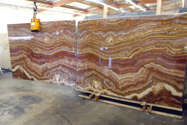 These are 3 cm slabs of Red Oynx once they have been sliced and polished smooth