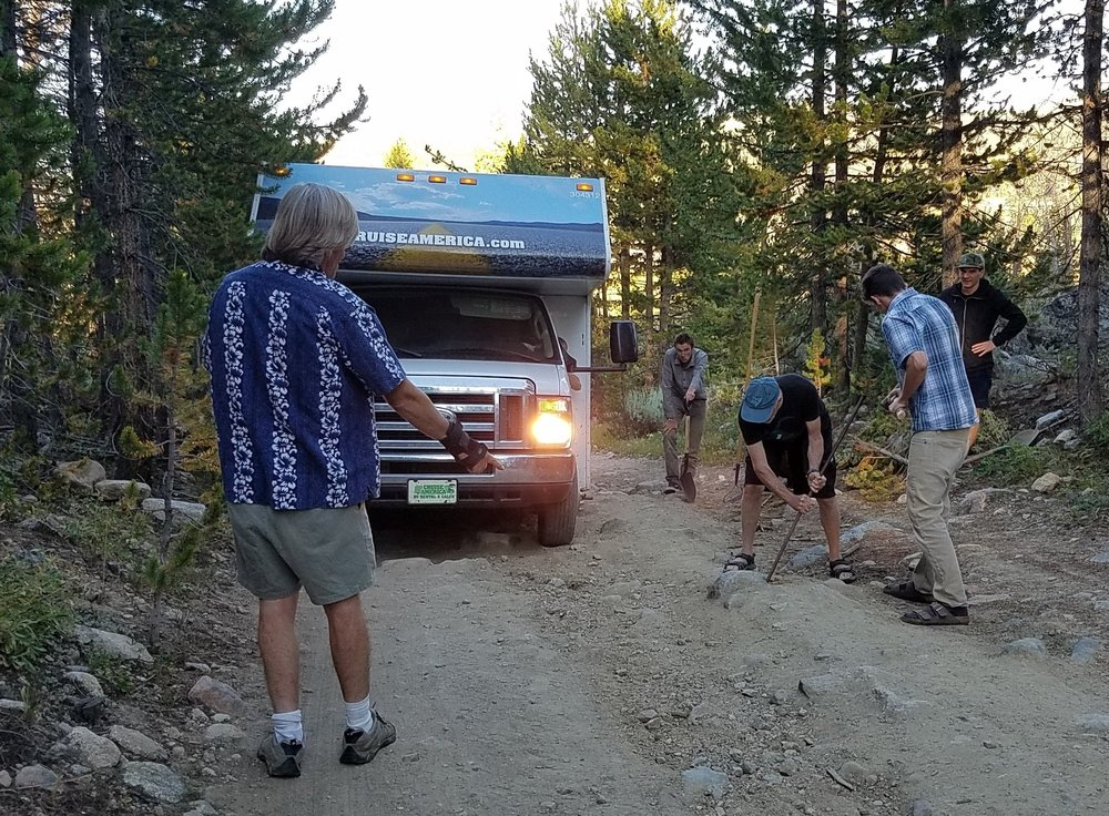 A detail of impressive WE CAN DO THIS crew lead by Jeff Orlowski nuanced the RV's a mile to lakeside camp in 90 minutes!