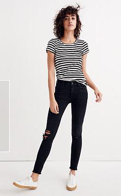 "9"" High Rise Skinny Jeans in Black Sea"