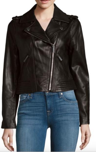 M  ichael Kors Leather Moto Jacket (similar)