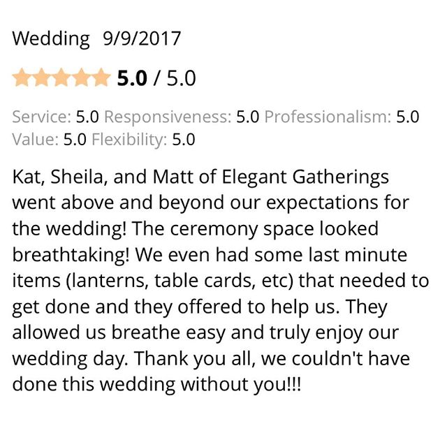 This super kind review on #weddingwire made our weekend and our hearts flutter 💓! Thank you thank you thank you @adzeledon You and your hubby make a gorgeous couple and we really enjoyed working with you on your #wedding day. Congratulations 🍾🎉🎊🎈 to the new bride and groom!