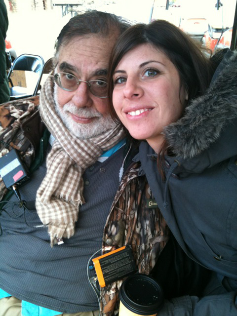 Nicole with Francis Ford Coppola on the movie set of Twixt