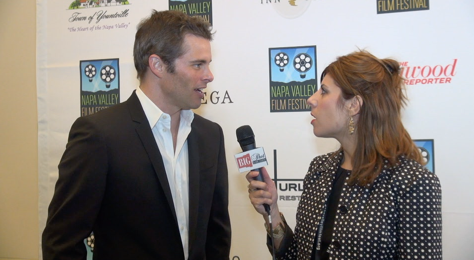 Nicole with James Marsden being interviewed for the Bigshot In Winecountry Show