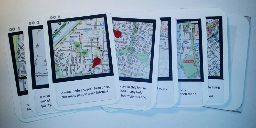 MELBOURNE'S INSIGNIFICANT SITES Vol 1   ©  2018  Pack of cards identifying 13 insignificant sites of Melbourne. Includes bonus stickers.   Cardstock, street directory, laser labels, self-adhesive coloured labels; laser printed, hand-stamped