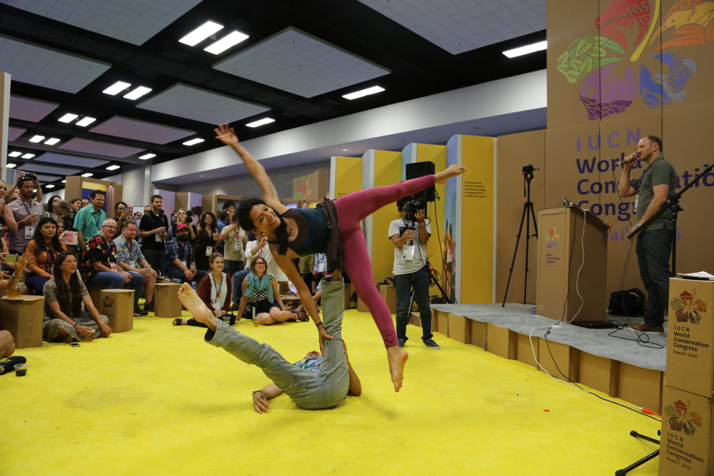 Maria Nieves, a  #NatureForAll Greenhouse finalist , captivated the audience with an  AcroYoga performance.