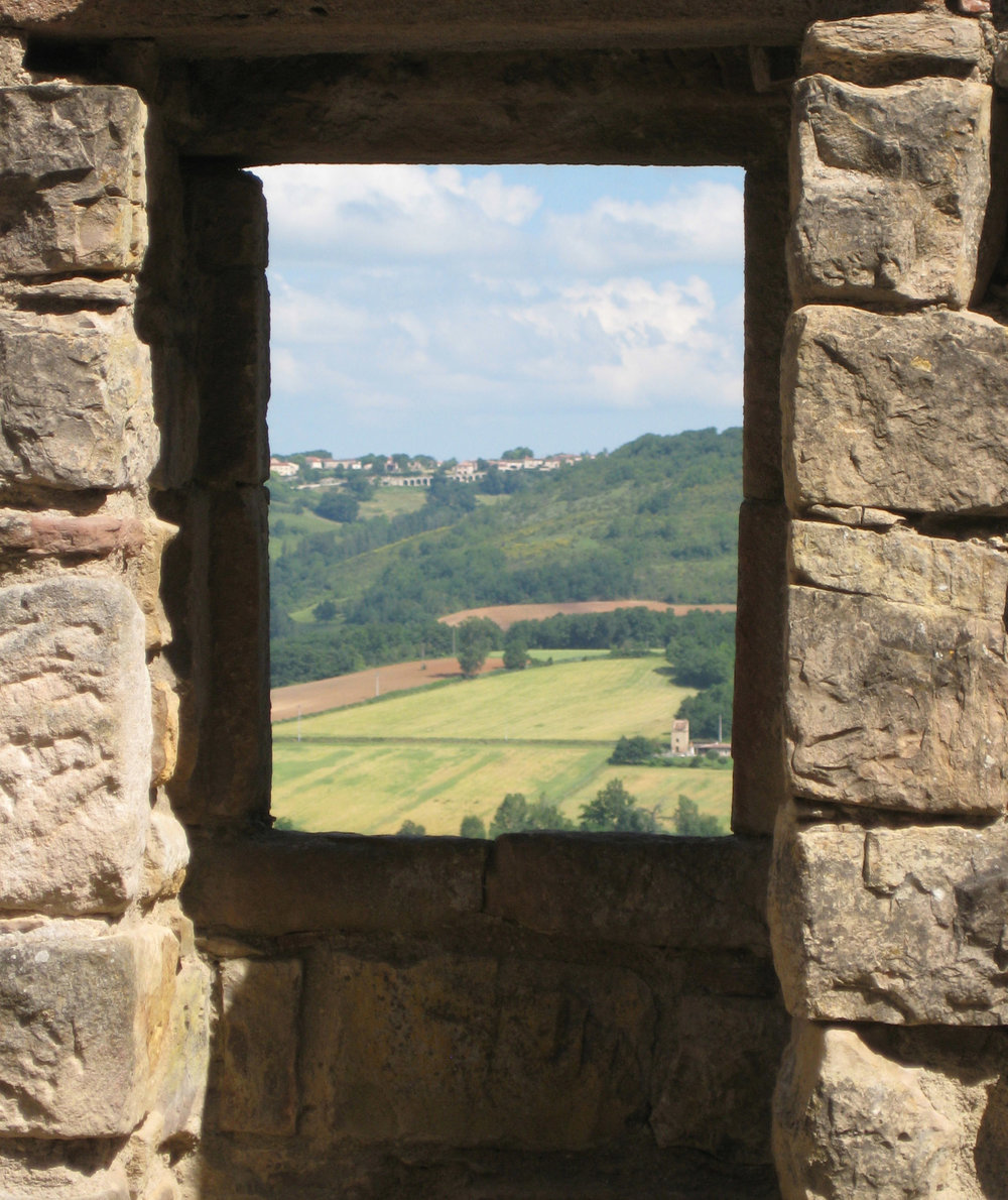 "Cover photo from  A Morsel of Bread, A Knife  by Roberta Feins:  ""View from Wall, Cordes-Sur-Ciel""  Photograph, 2009 William Ross"