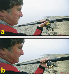 a) The right way: The palm of the hand sits comfortably supporting the rod and reel b) The wrong way: The wrist is twisted and the position uncomfortable