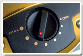 Okuma adjustment dial. Simple to operate, ranging from almost free-spool to very strong drag