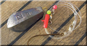 6. Add the required plain lead weight to the zip slider and your conger rig is ready for action. All you need now is to attach your mackerel flapper bait