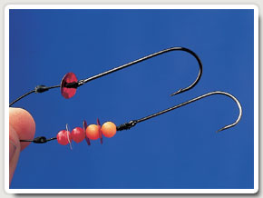 3. Beads and/or sequins close to the hook add some attraction but also act as bait stops