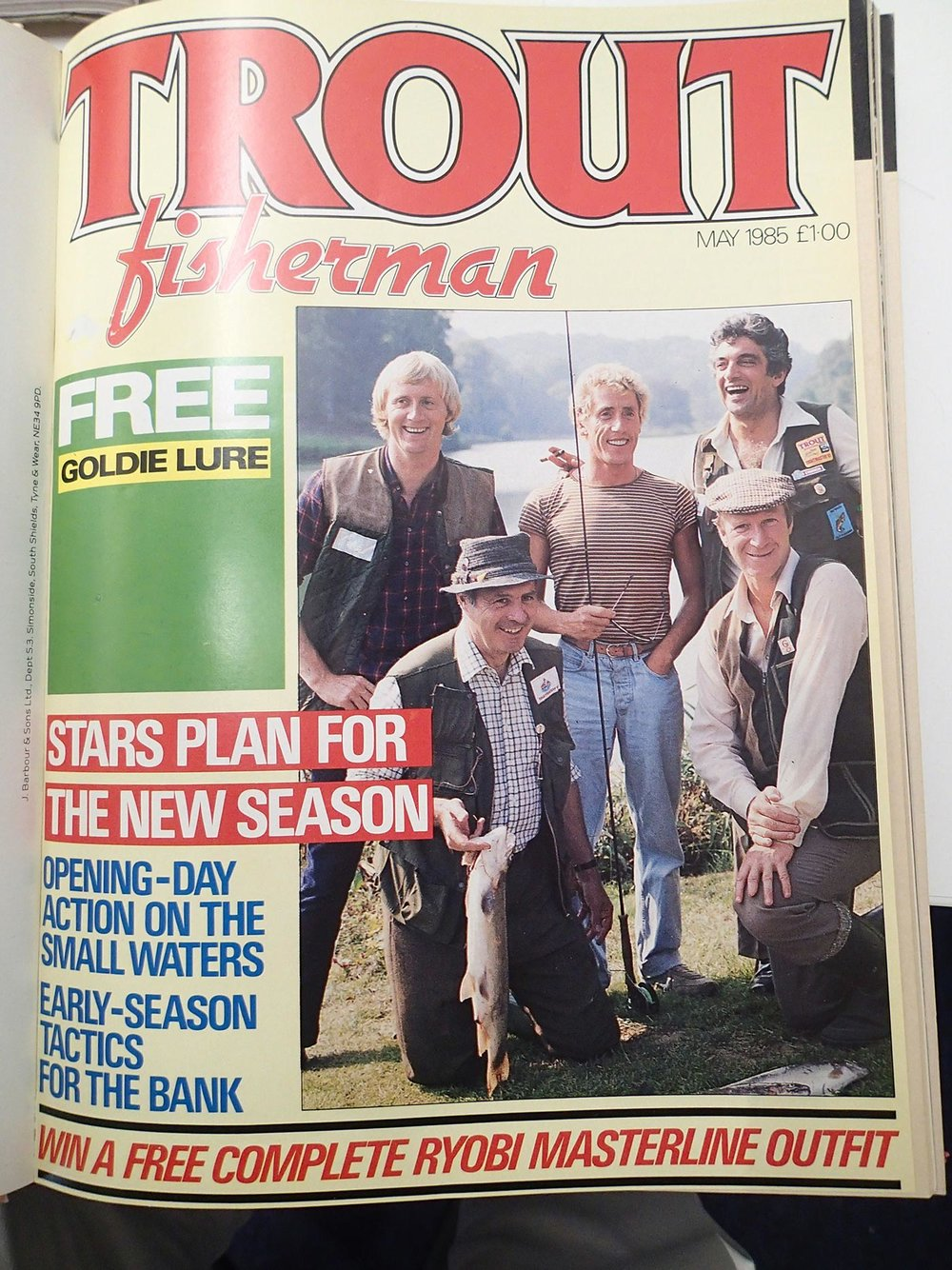 Possibly the closest our orbit ever came to that of 'Hello!' – four-and-a-half household names (Leonard Parkin was a newsreader, we had to remind ourselves) on the Trout Fisherman cover.