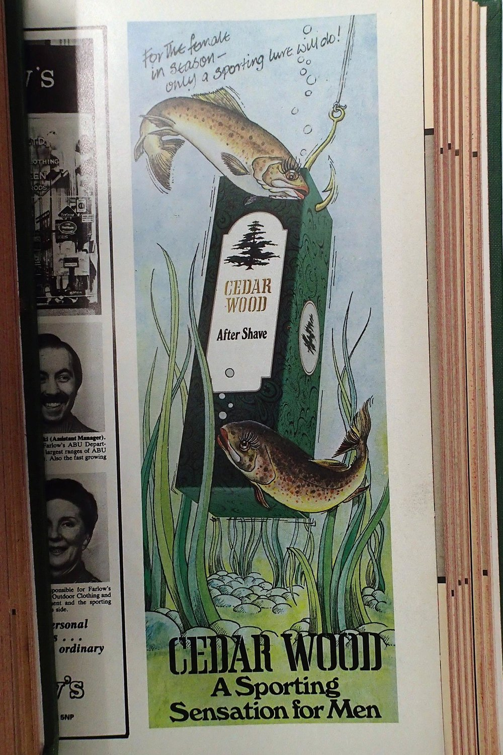 "Fishing-themed after-shave. All you ""females in season"" form an orderly queue."
