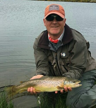 Rob Frame with Chatton brown trout.