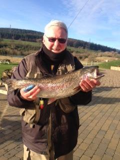 George Burton, from Ashington, landed this nice 5lb rainbow from Long Crag Lake at Thrunton fishery using a Cat's Whisker.