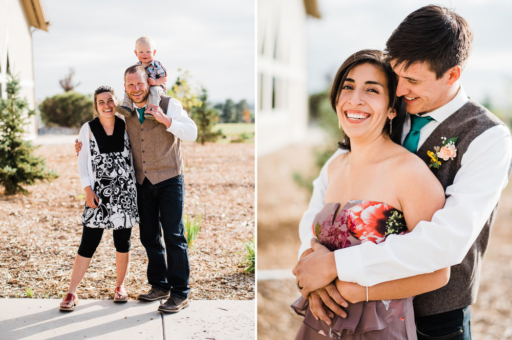 portrait diptych of two groomsmen and their families at Parker Evangelical Presbyterian Church
