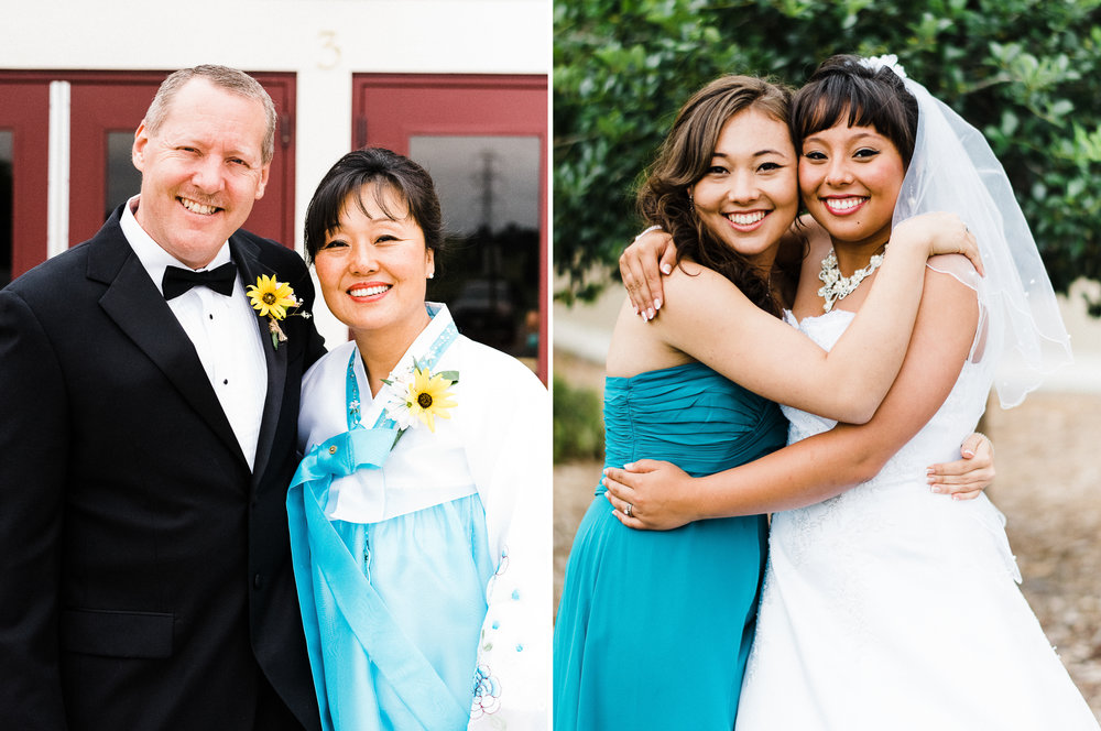 portrait diptych of parents of the bride and the bride and her sister at Parker Evangelical Presbyterian Church