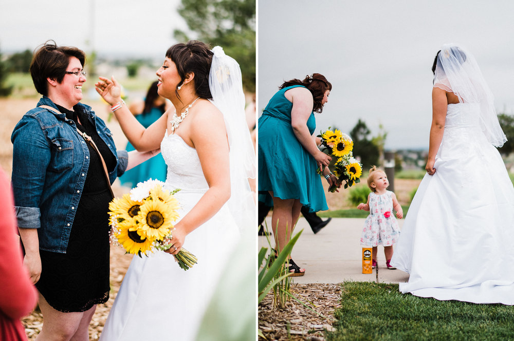 portrait diptych of the bride and friends at Parker Evangelical Presbyterian Church