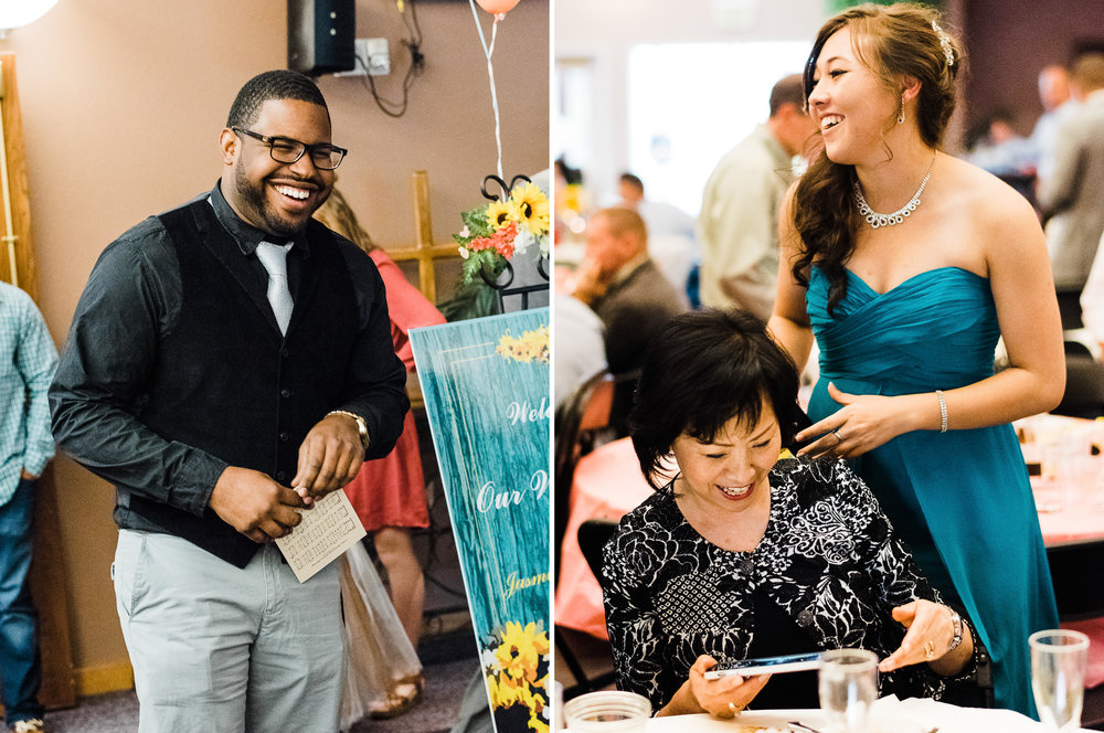 portrait diptych of guest celebrating at Parker Evangelical Presbyterian Church