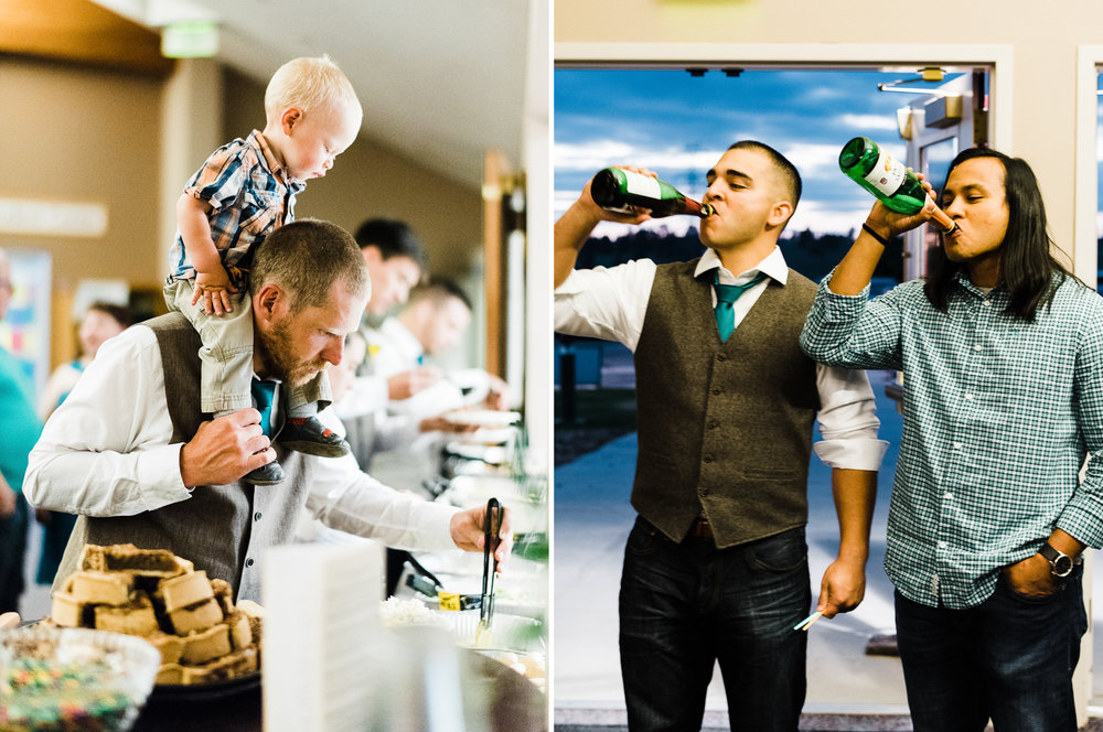 portrait diptych of guests celebrating during wedding reception at Parker Evangelical Presbyterian Church