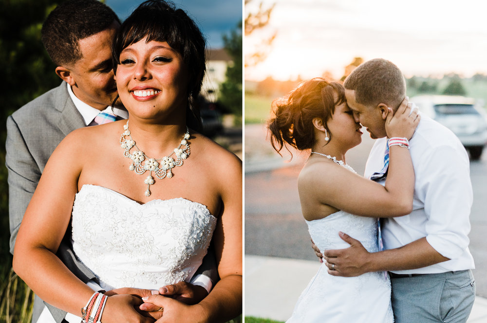 portrait diptych of the bride and groom at Parker Evangelical Presbyterian Church