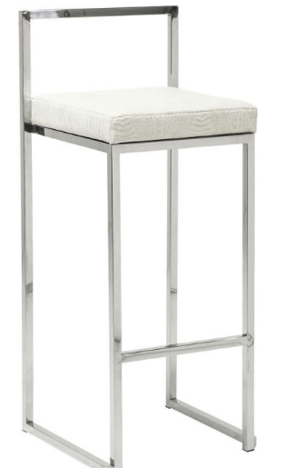 No. 10: This very unique modern chrome and white bar stool is definitely one of a kind