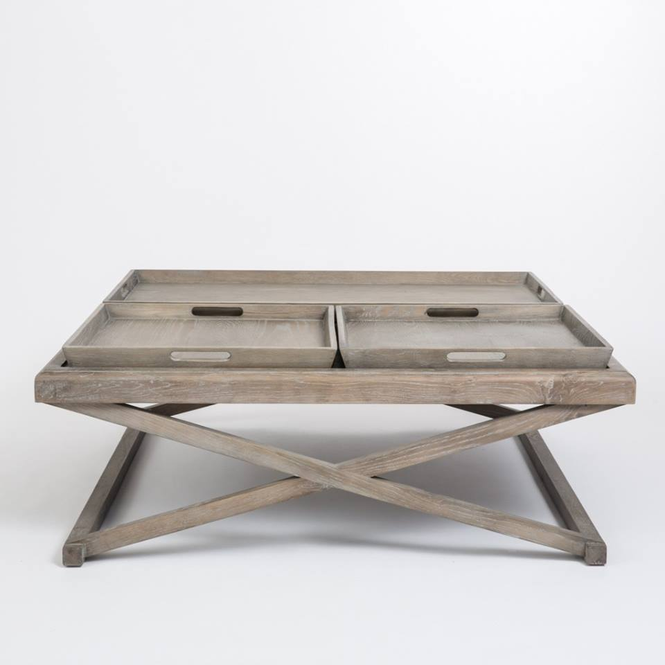 Aged Oak coffee table with removable trays 120cm X 120cm X 45cm  €1225