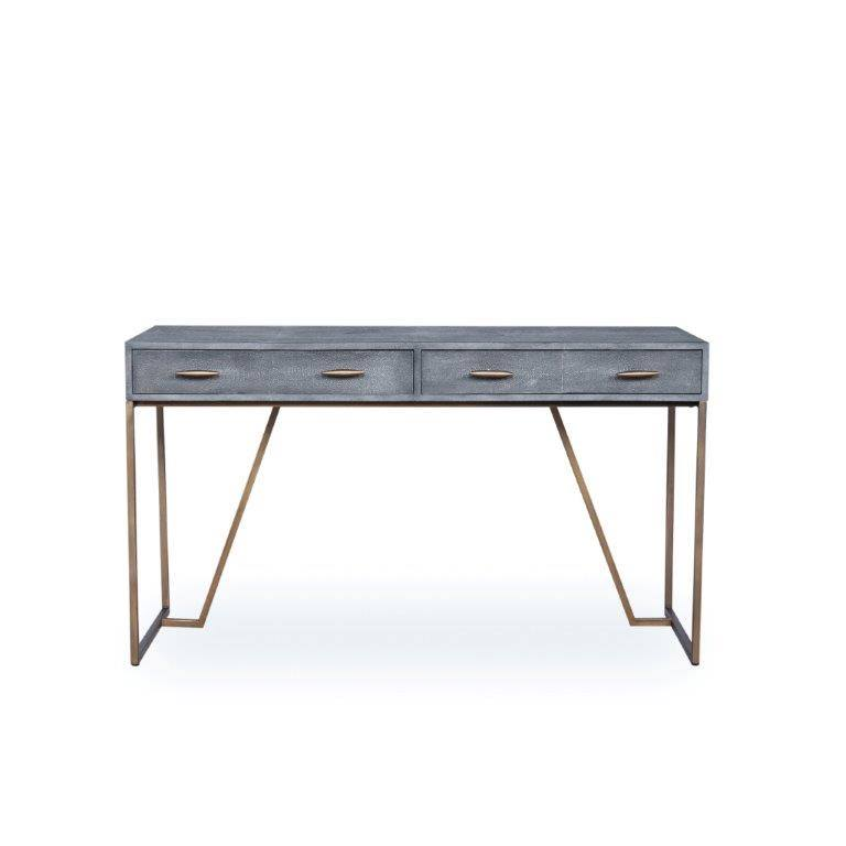 Hampton desk Grey shagreen and antique brass €1495